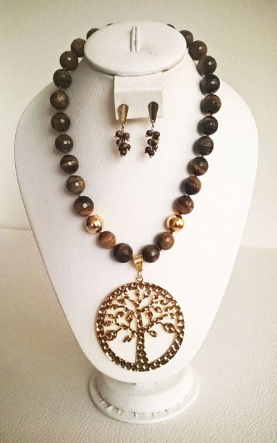 Image of Tigers eye necklace and earring set