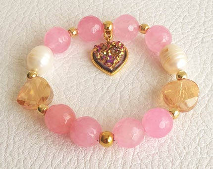 Image of Blue Agate & pink Agate bracelets with water pearls