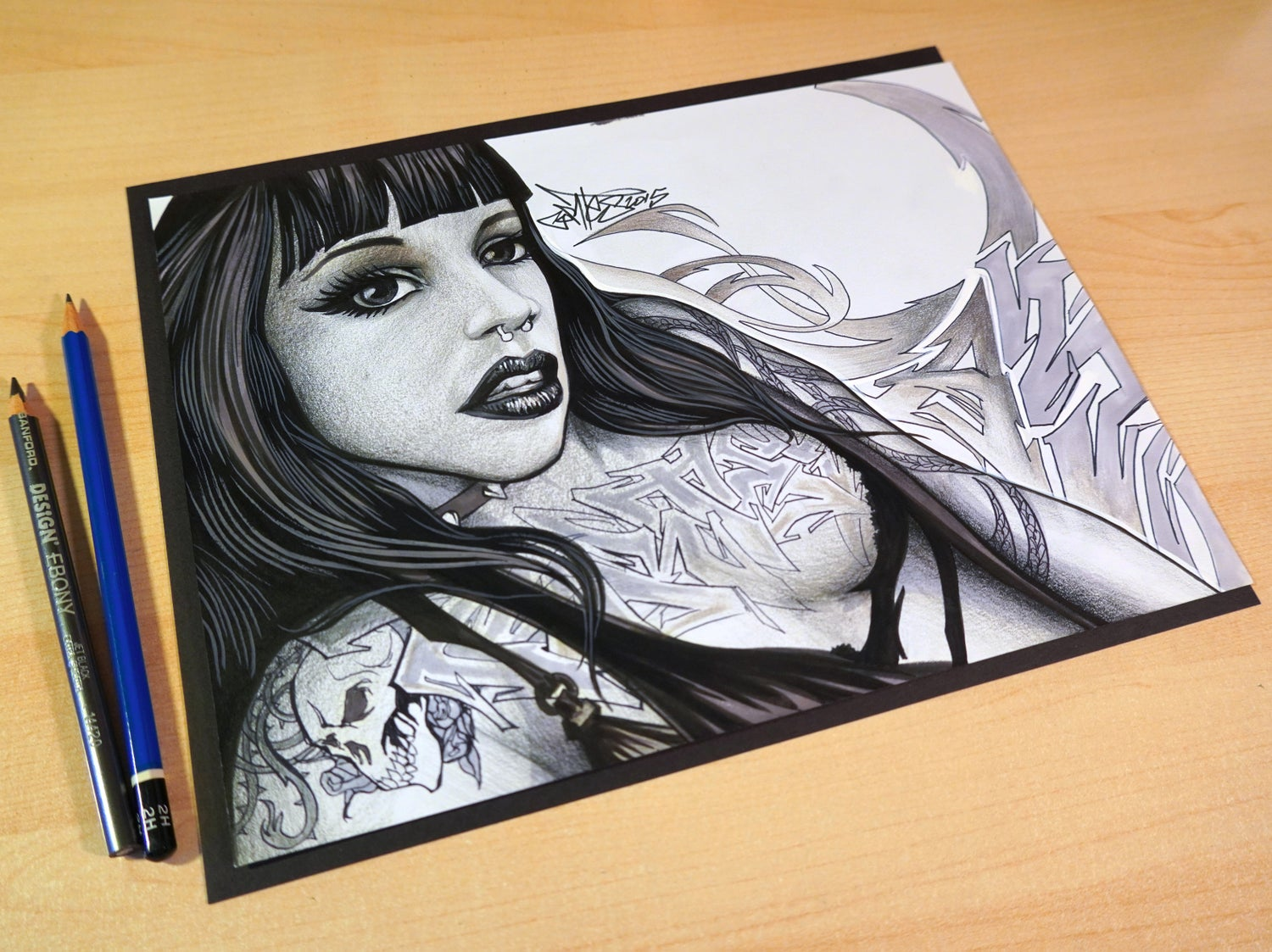 "Image of Original Art, ""Tattoo Girl"" Ink On Paper"