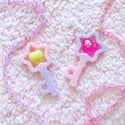 Dreamy Heart Star Key Necklace: Lavender/Pink + Hot Pink