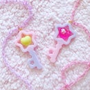 Image of Dreamy Heart Star Key Necklace: Lavender/Pink + Hot Pink