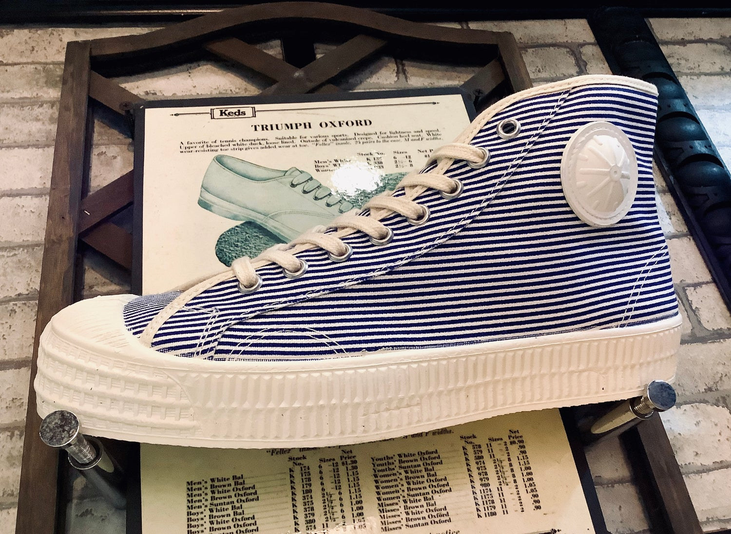 Image of VEGANCRAFT pinstripe hi top sneaker shoes made in Slovakia