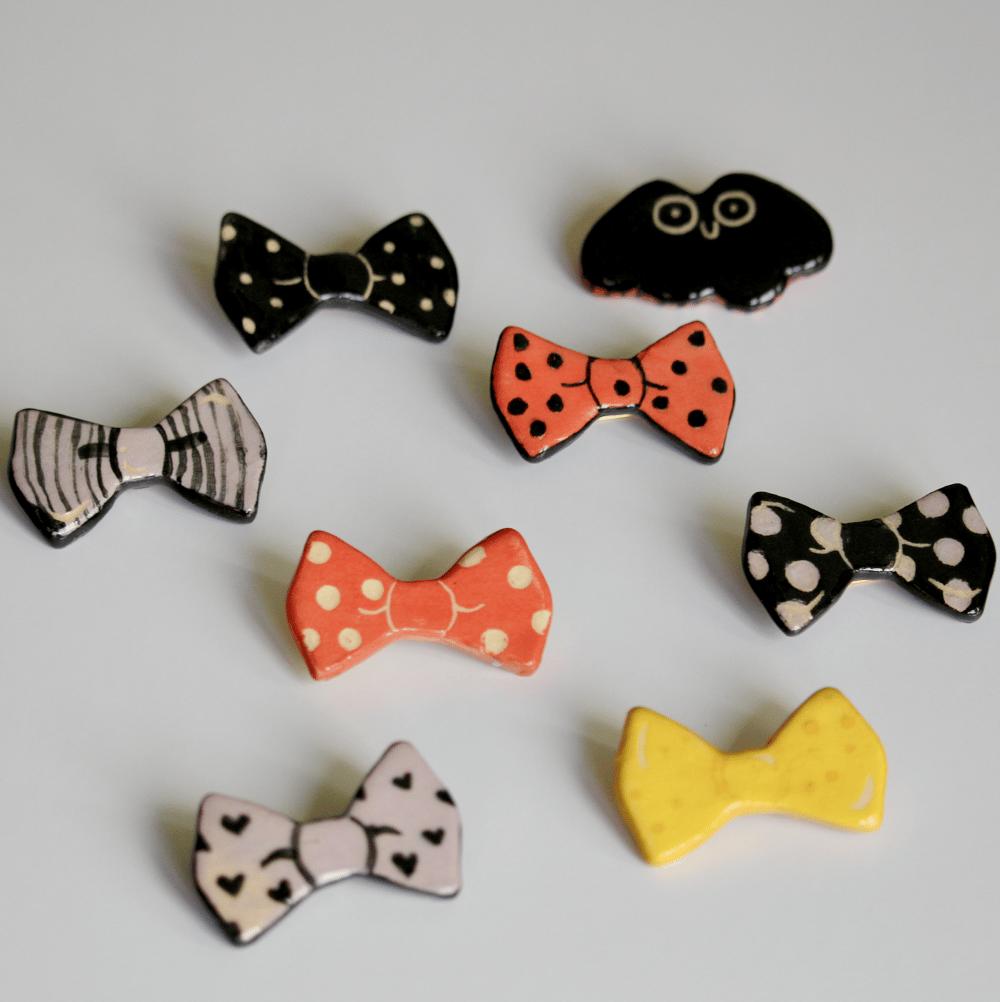 More Handmade Clay Pins! Bats n Bows