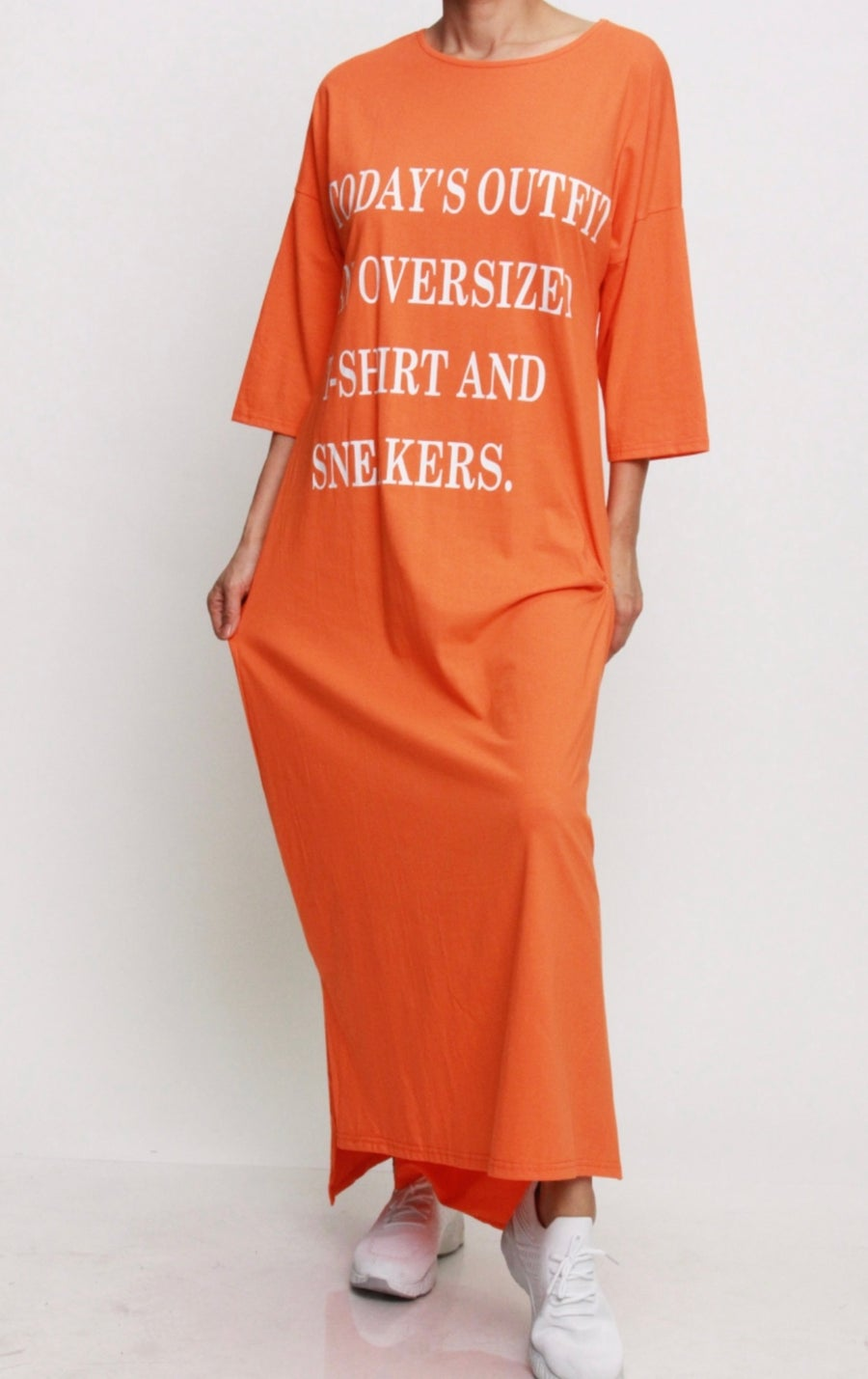 Image of Oversized T-Shirt and Sneakers Dress (Orange)