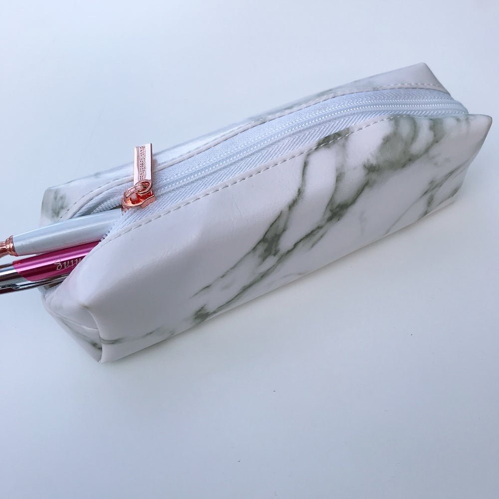 Image of PRINCESS PLANNING WHITE MARBLE PENCIL CASE