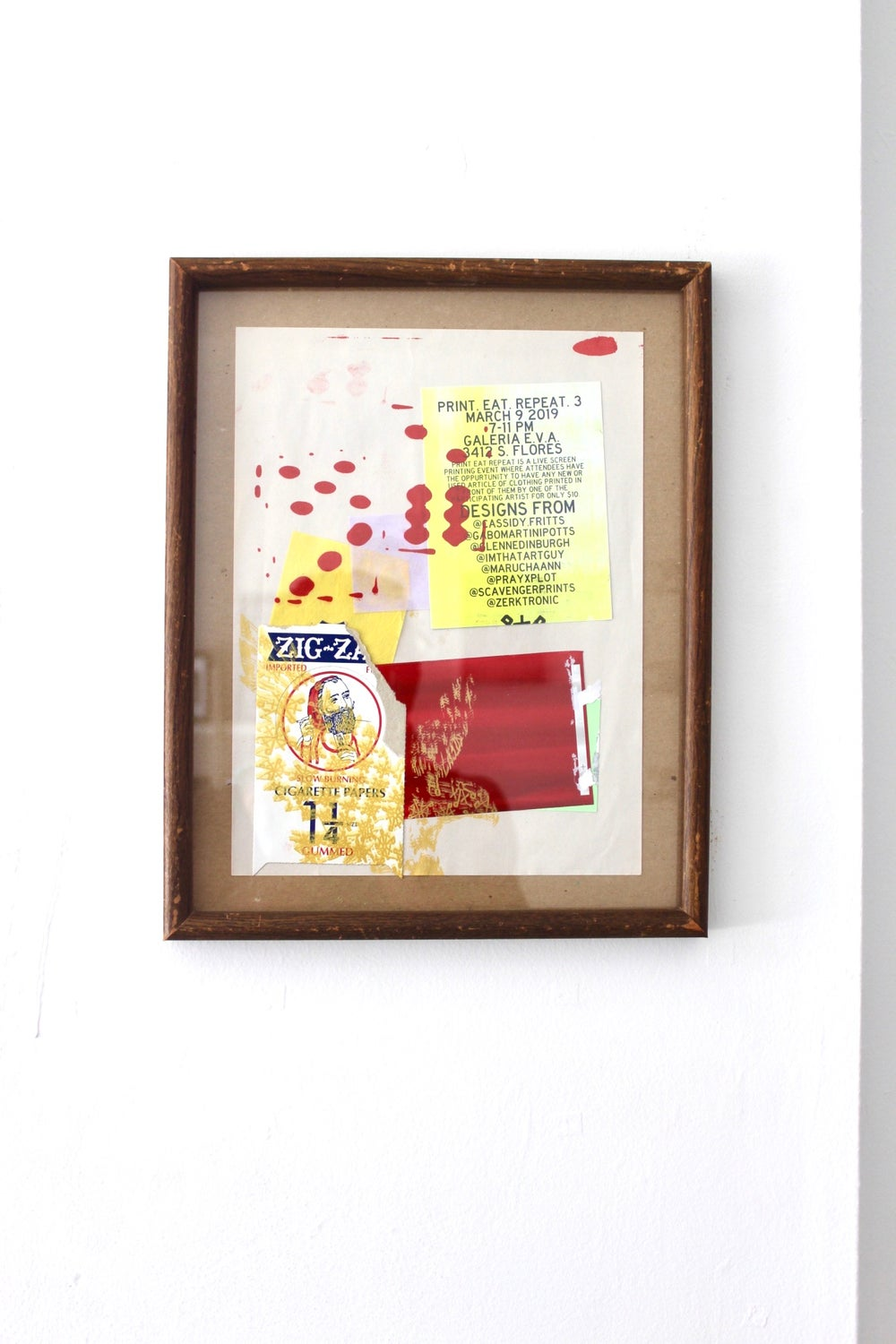"""""""keep rolling"""" 11 1/2inx 14in silkscreen print collage on paper"""