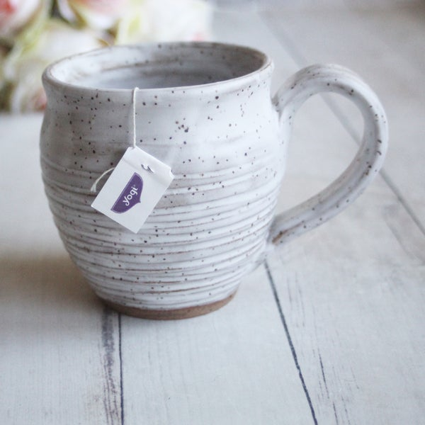 Image of Speckled Carved Coffee Mug in Satin White Glaze Handcrafted Stoneware Made in USA