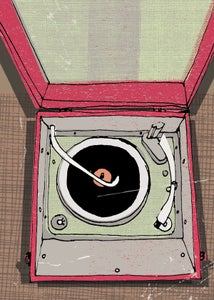 Image of portable record player #4 - print - illustration