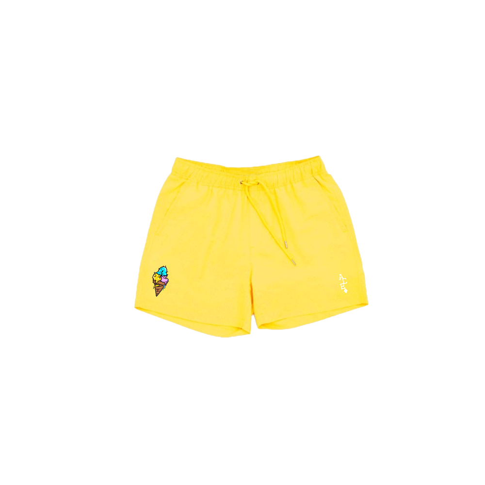 Image of ACE Cream Swim Trunks Yellow - Mens