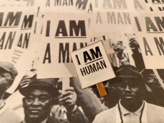Image of I am Human Pin by  Cyber Amaris
