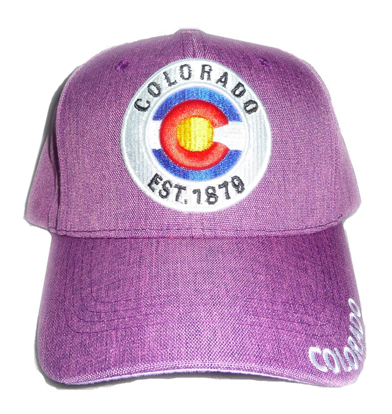 Image of COLORADO STATE 1879 COLORFUL PURPLE EMBROIDERED VELCRO STRAPBACK HAT
