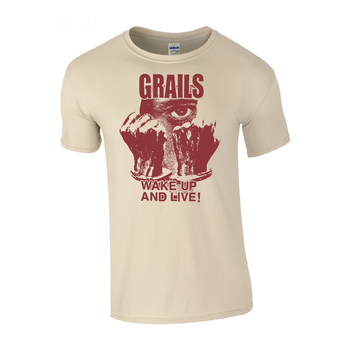 """Image of GRAILS """"Wake up and live"""" Sand t-shirt"""
