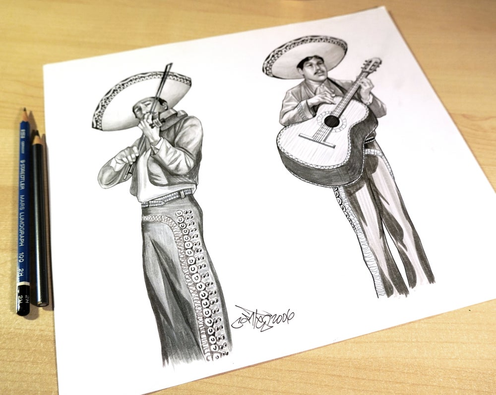 "Image of Original Art, ""Mariachi"" Rendering on Paper"