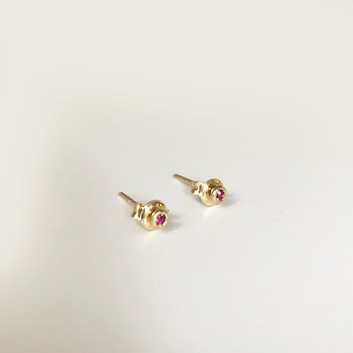 Image of Tiny Ruby Stud Earring (SINGLE)