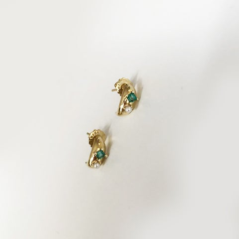 Image of Victorian emerald mini hoop earring
