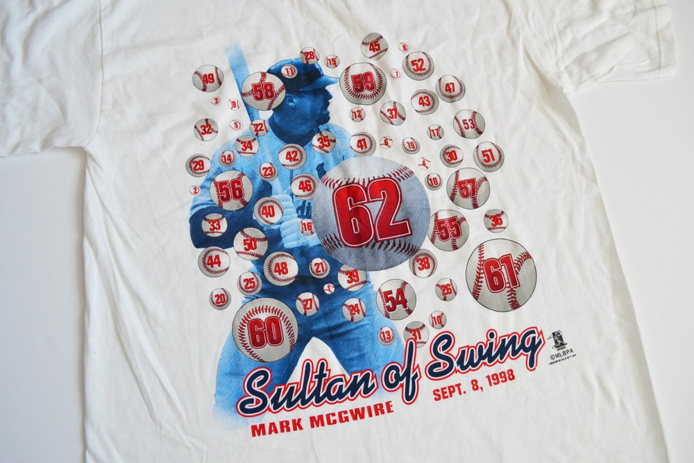 Image of Vintage 1998 St. Louis Cardinals Mark McGwire HR King T-Shirt Sz.XL (Youth)