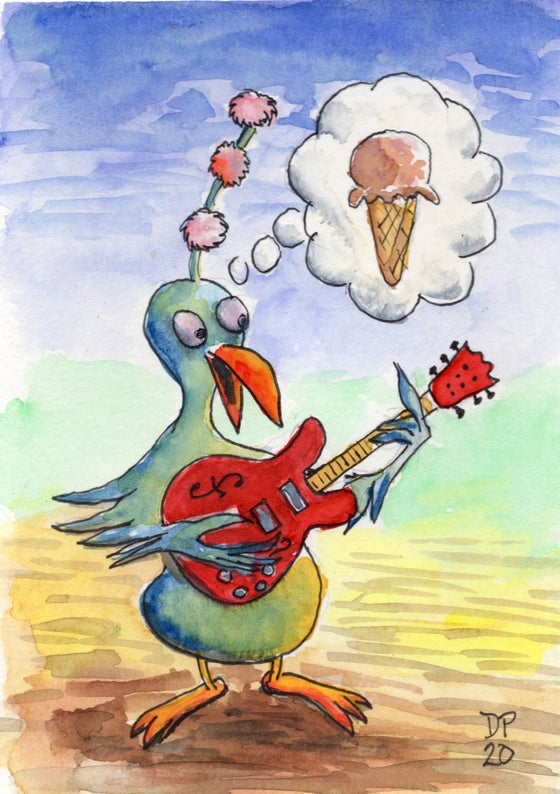 "Image of ""Ice Cream Pom Pom 335 Strummer Bird"" - Original watercolor painting by Dan P."
