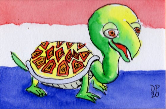 "Image of ""Netherlands Turtle"" - Original watercolor painting by Dan P."
