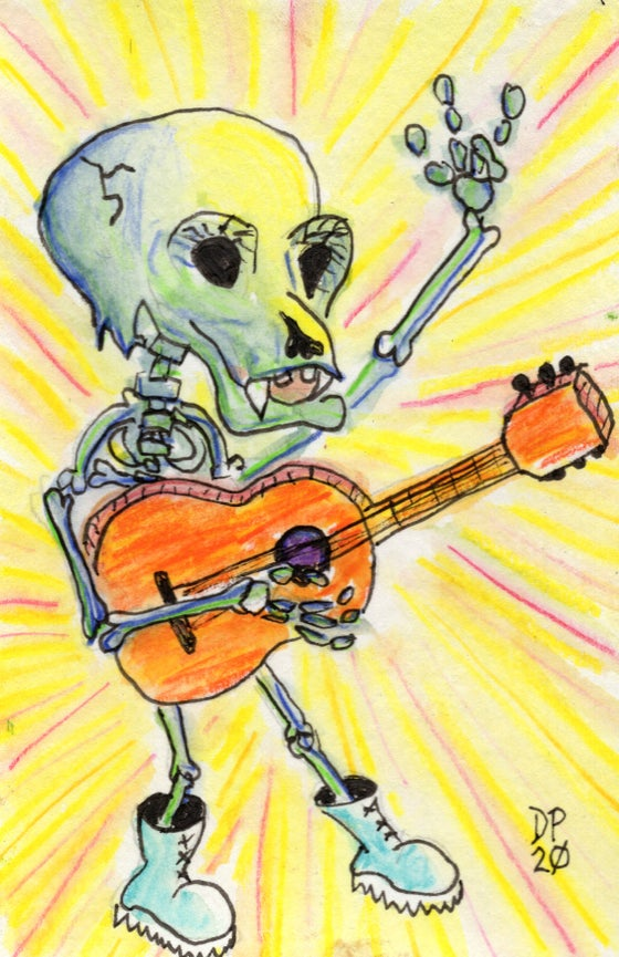 "Image of ""Skeleton With Orange Guitar"""