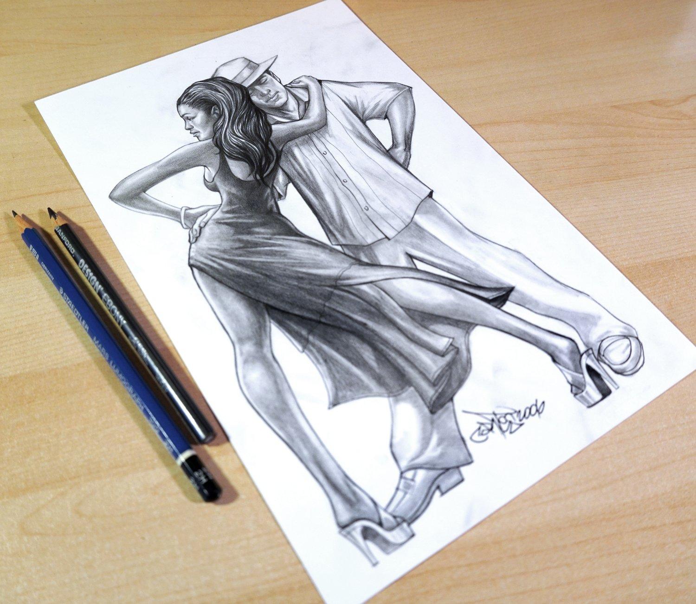 "Image of Original Art, ""Salsa dancers"" Rendering on Paper"