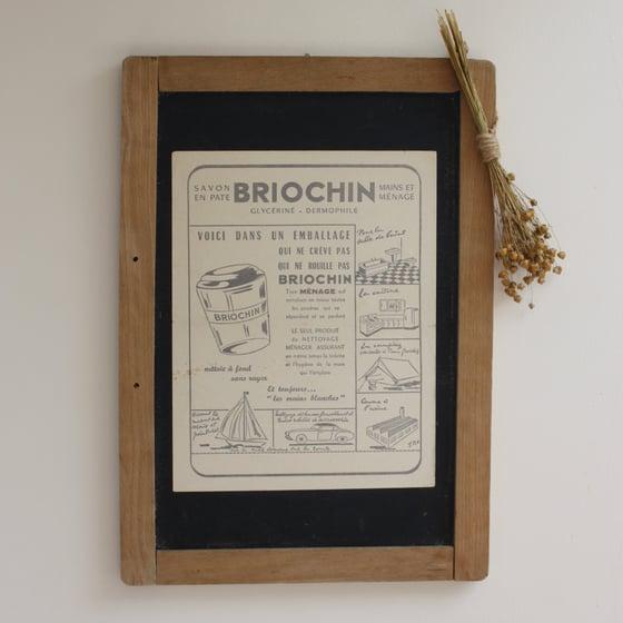 """Image of Grande ardoise ancienne décorative """" Savon BRIOCHIN """"."""
