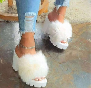 "Image of ""Fur Baby"" Chunky Heel Sandals"