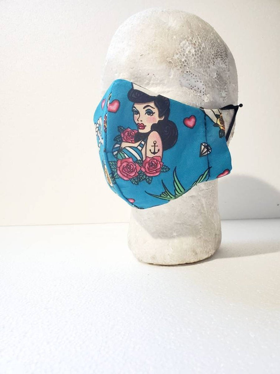 Image of Pin Up Sailor Jerry Themed Mask