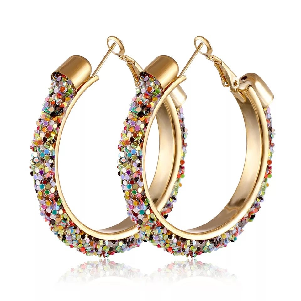 Image of Gold Pastel Rainbow Sparkle Hoops