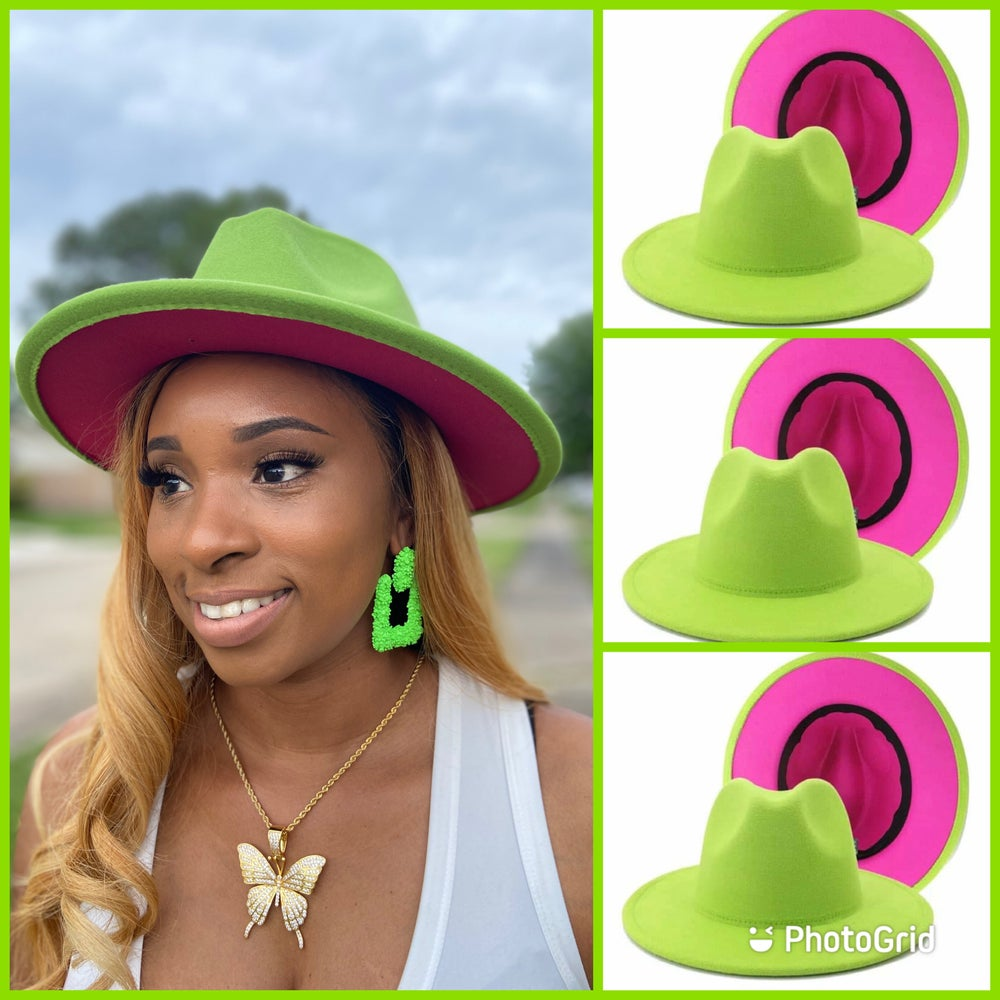 Image of Lime/pink bottom Fedora