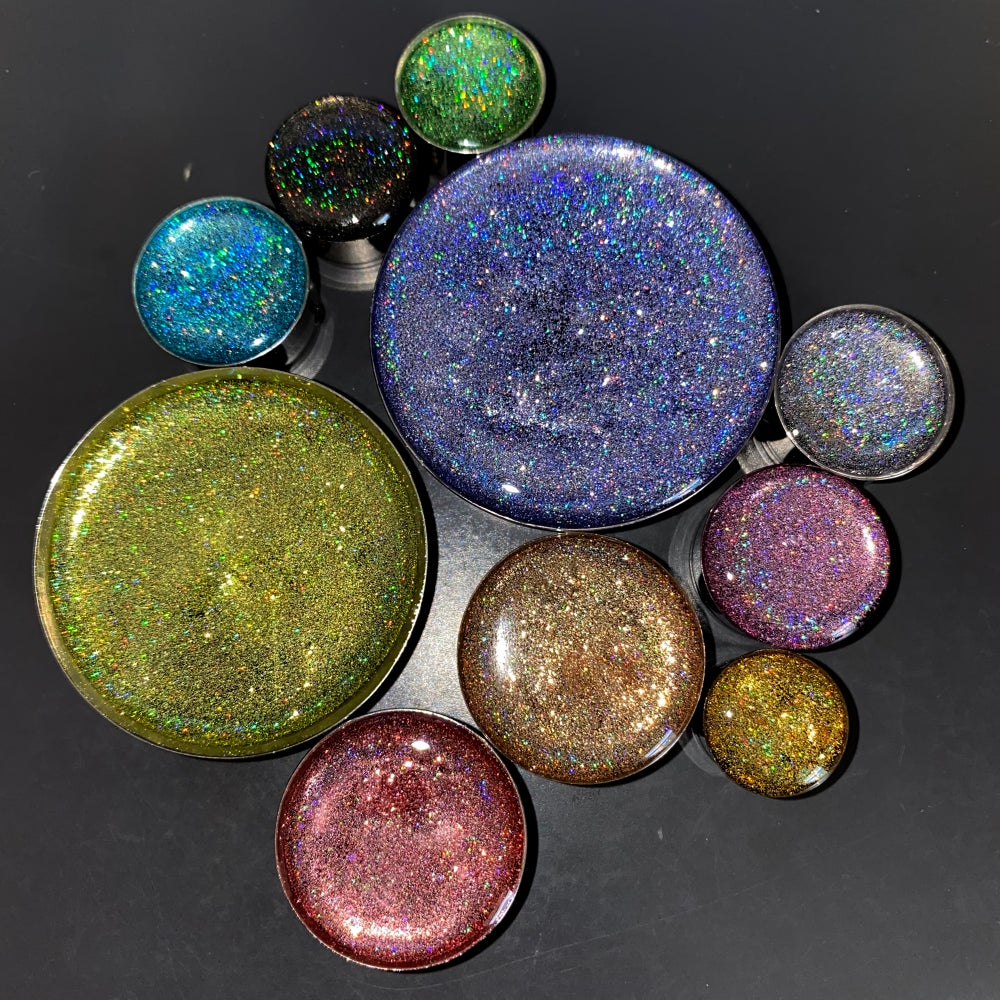 "Image of Mega Holo Plugs (sizes 2g-2"")"