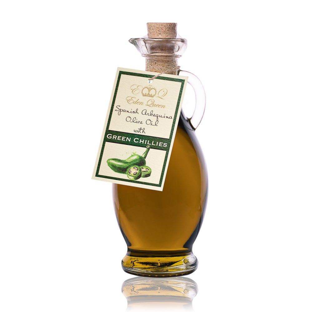 Image of Spanish Arbequina Olives Pressed with Fresh Green Chillies (250ml)