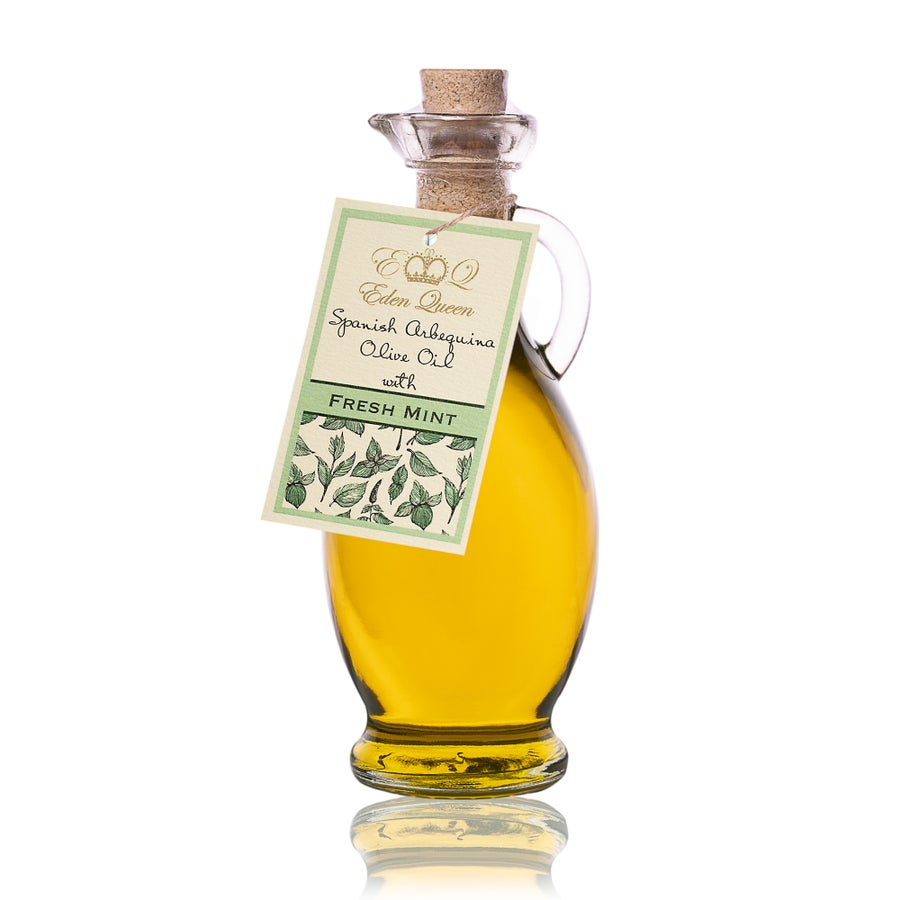 Image of Spanish Arbequina Olives Pressed with Fresh Mint (250ml)