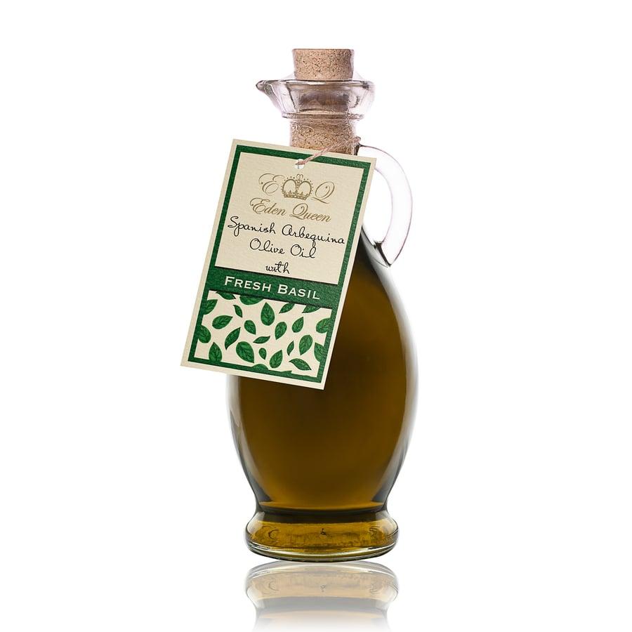 Image of Spanish Arbequina Olives Pressed with Fresh Basil (250ml)