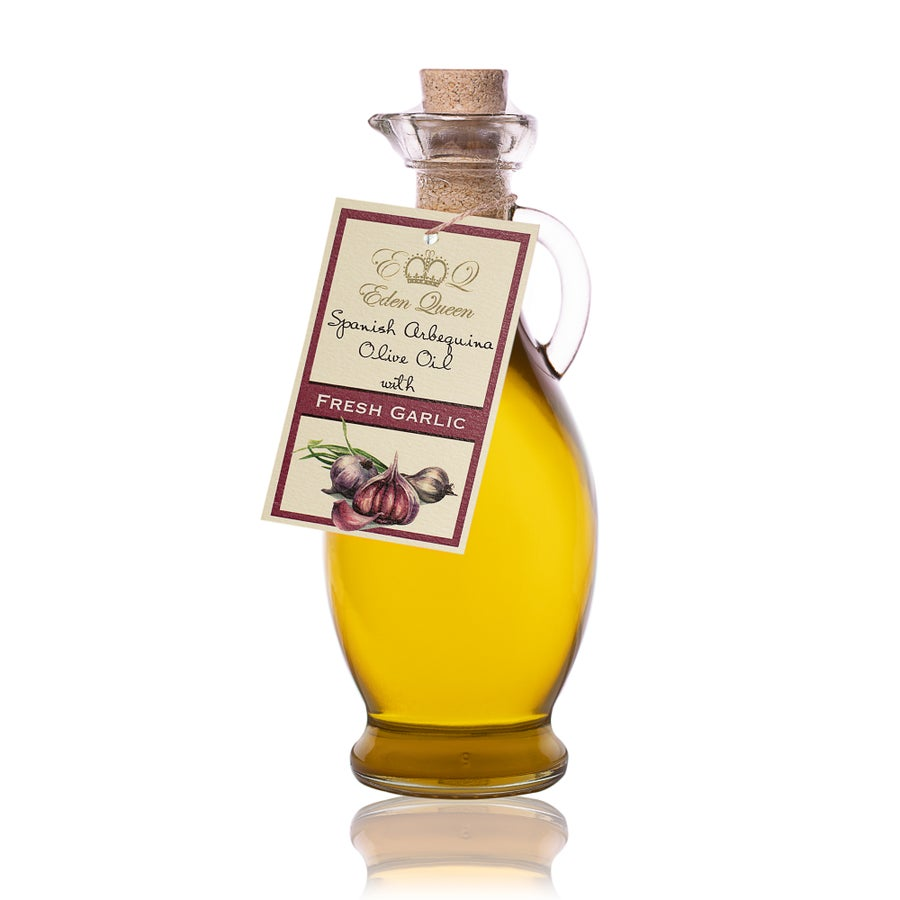 Image of Spanish Arbequina Olives Pressed with Fresh Garlic (250ml)