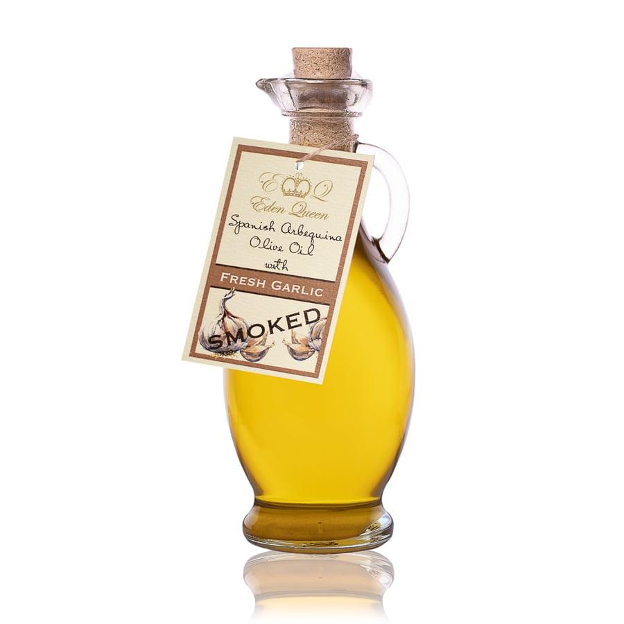 Image of Spanish Arbequina Olives Pressed with Fresh Garlic 'Smoked' (250ml)