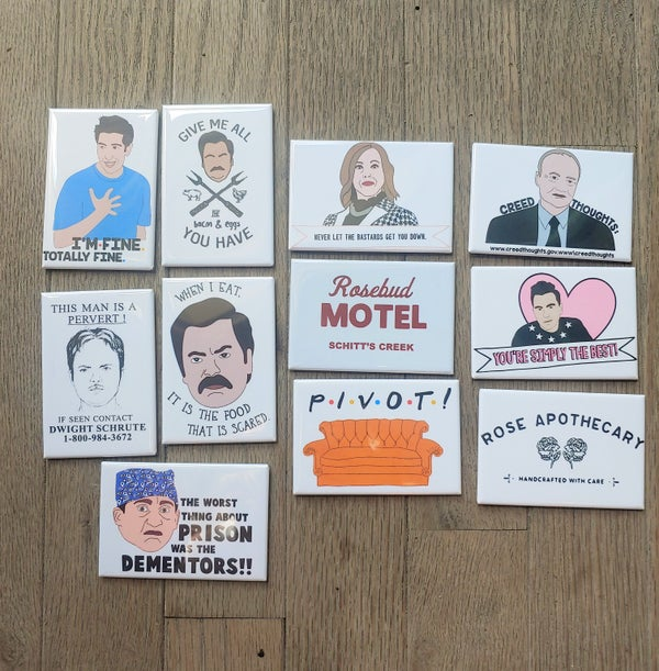 Image of Pop Culture Fridge Magnet - The Office, Schitt's Creek, Tiger King