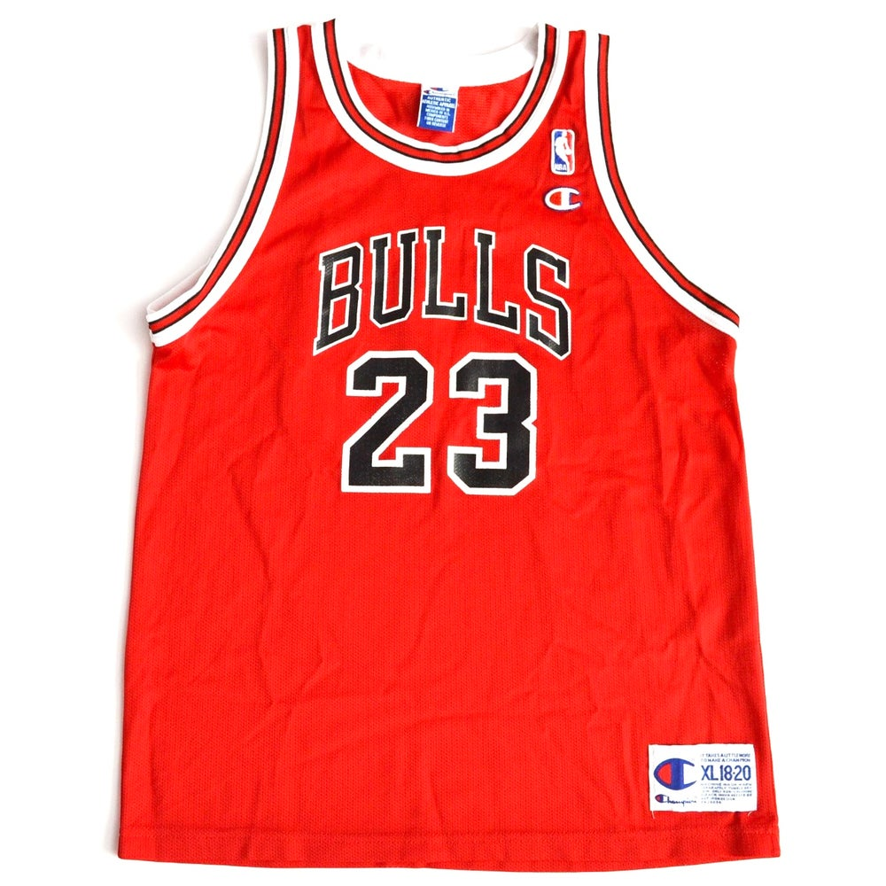 Image of Vintage 1990's Chicago Bulls Michael Jordan Red Champion Jersey Sz.XL (Youth)