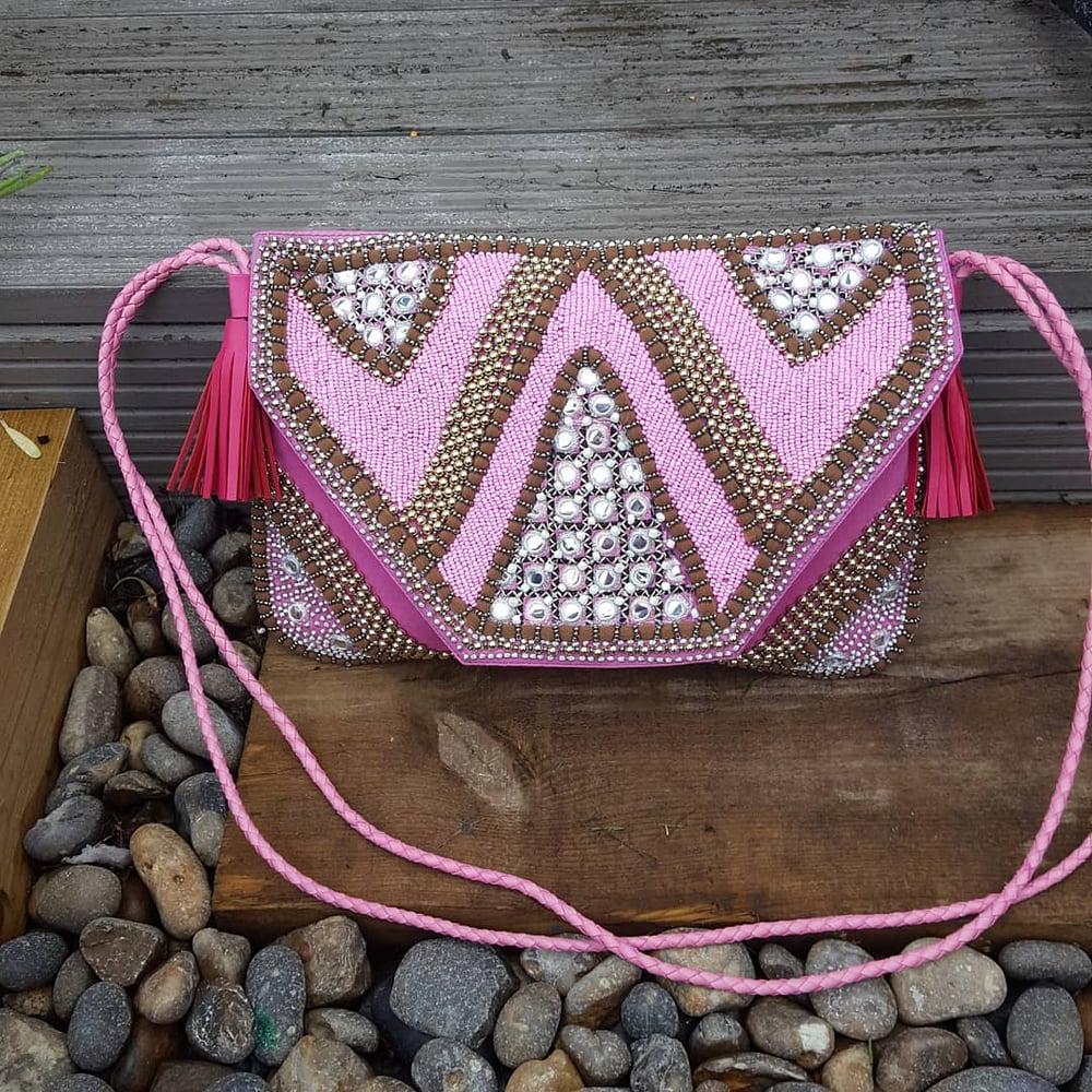 Image of Paros -pink heavily beaded bag