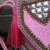 Paros -pink heavily beaded bag