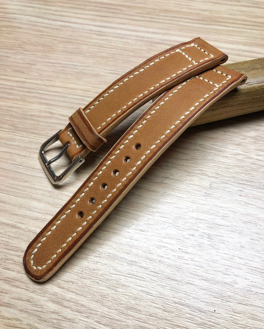 "Image of Double Box-stitch ""Vintage"" watch strap with contrast cream edges"