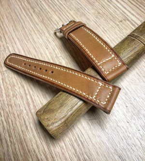 Image of Double Box Hand-Stitched VegTan Calfskin watch strap with contrast cream edges