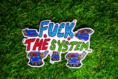 Image of Clear Fuck The System Sticker