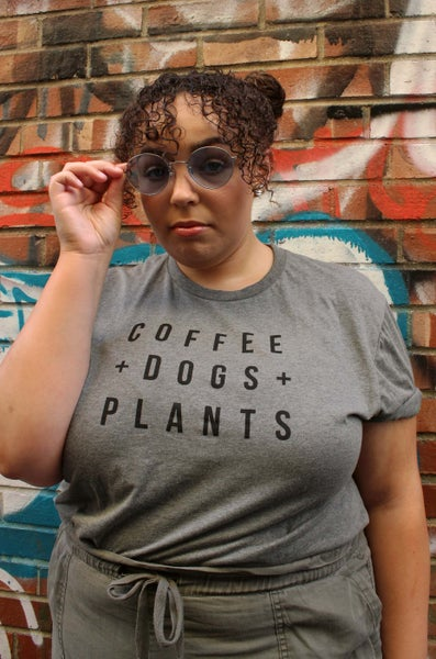Image of Coffee Dogs Plants T Shirt in Grey