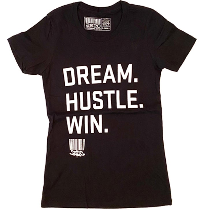 Image of DREAM. HUSTLE. WIN. LADIES TEE - BLACK