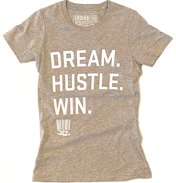 Image of DREAM. HUSTLE. WIN. LADIES TEE - HEAHTER GREY