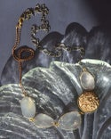 crystal linked statement  with vintage carved floral