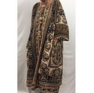 Image of Hand Block Printed Dress/Caftan with Paisleys