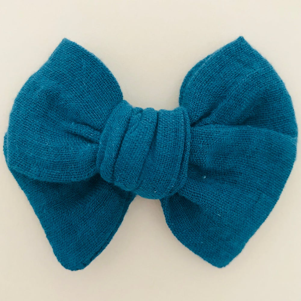 Image of Barrette double gaze bleu canard