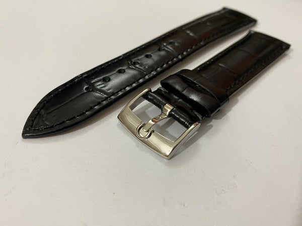 Image of 20mm OMEGA CROC PADDED MENS LEATHER STRAP.BLACK.TOP QUALITY.HEAVY DUTY.