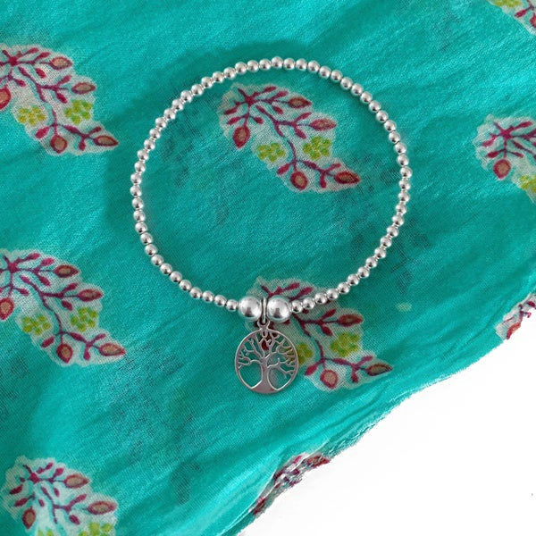 Image of Sterling Silver Tree of Life Charm Bracelet
